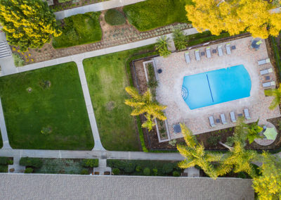 Pool view from above with pathways and grass