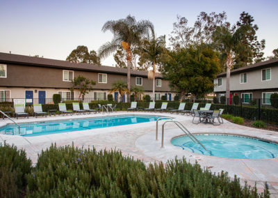 Pool view in Yorba Linda Pines with lounge chairs