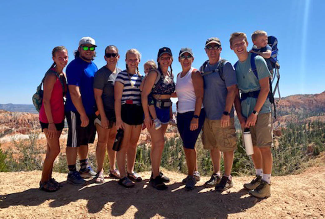 Dr. Julie Hanks hiking with family