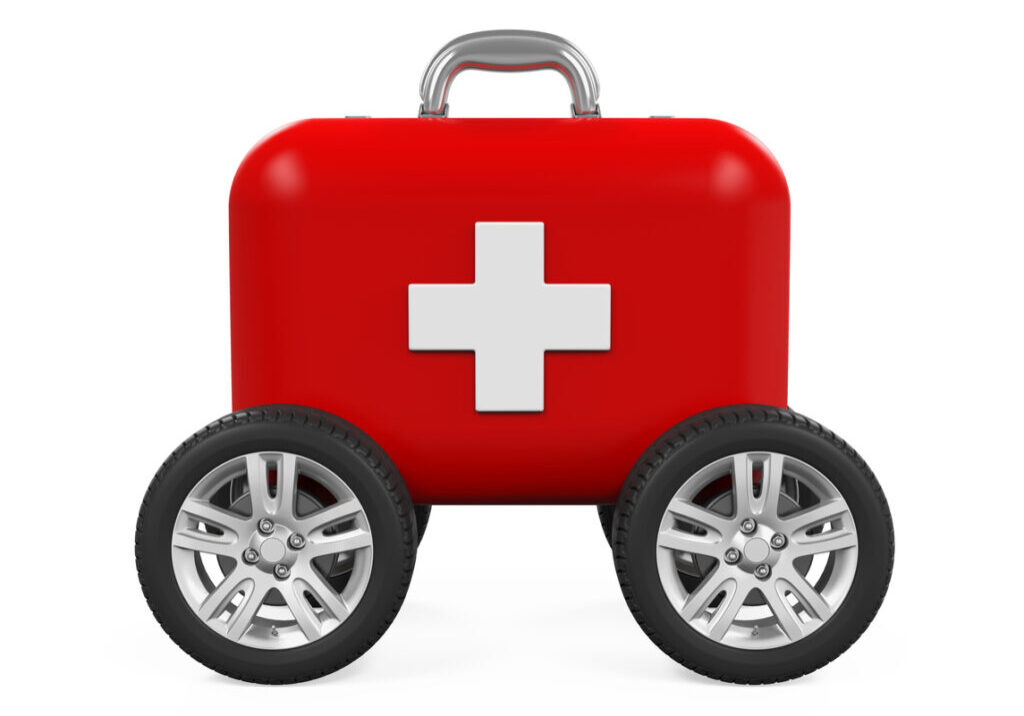 First Aid Kit on Wheels isolated on white background. 3D render