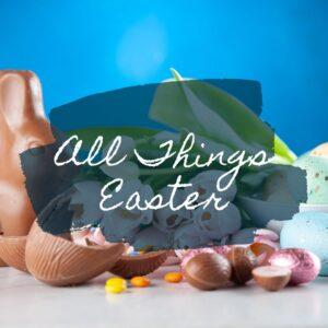 chocolate Easter bunny and chocolate eggs