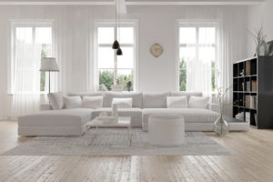 Set of double-hung windows in living room