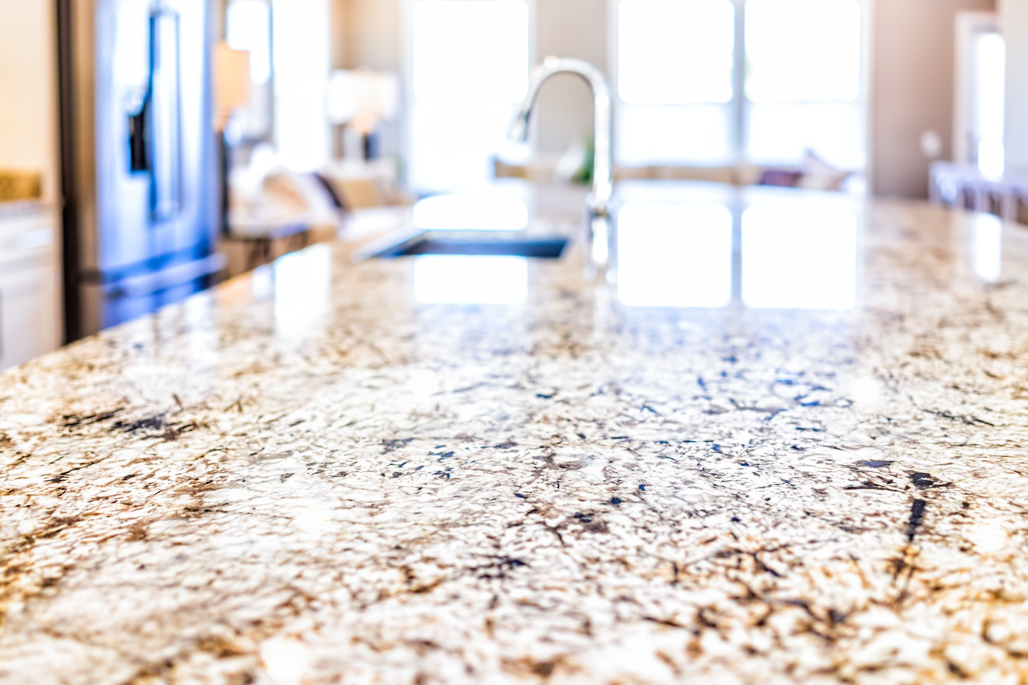 Brown stone countertops heated by FeelsWarm countertop heaters.