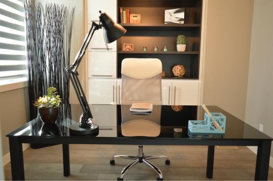 A granite desk in a chic home office.