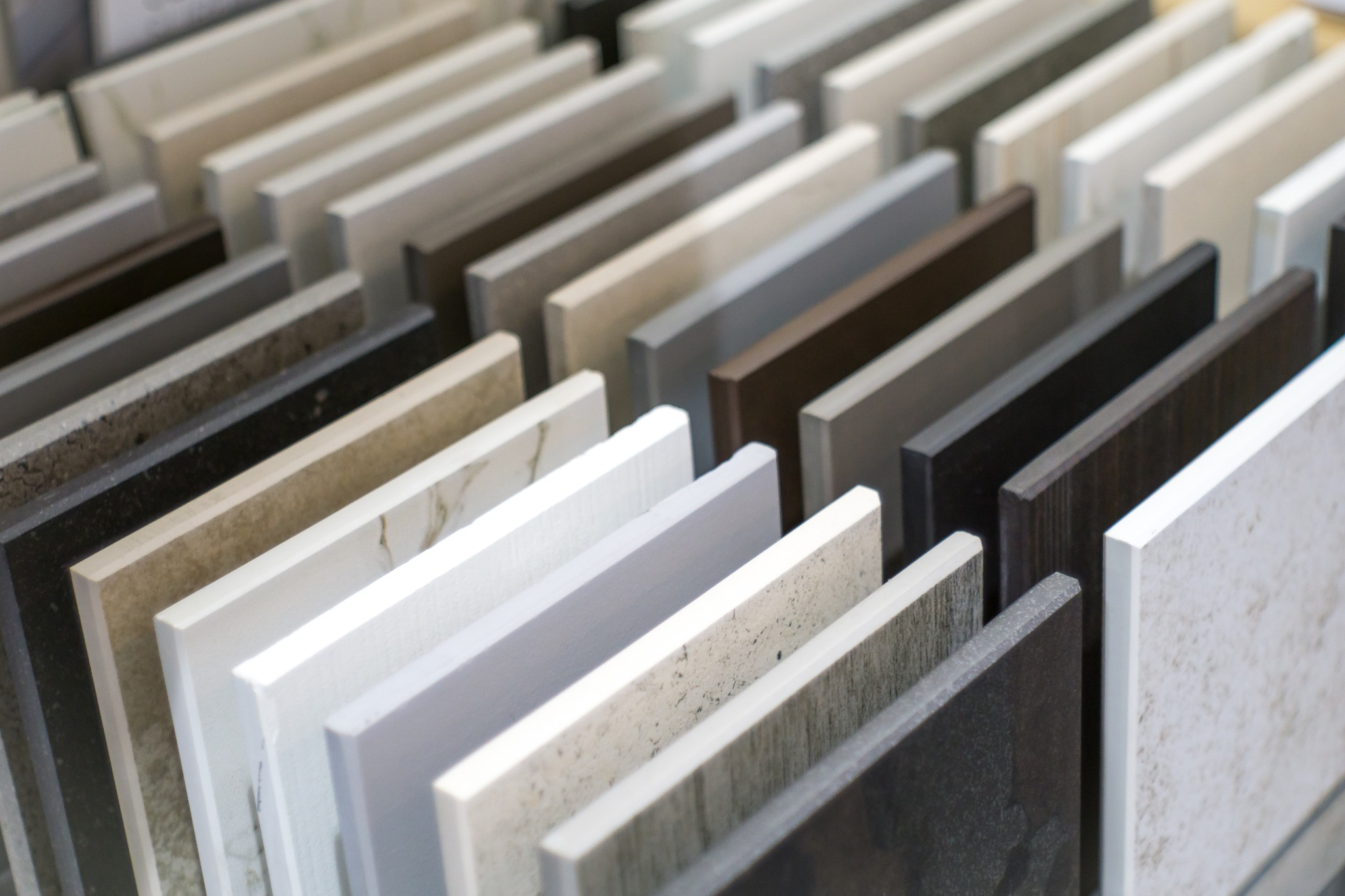 Different samples of various countertop materials.