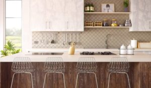 A counter top with modern barstools.