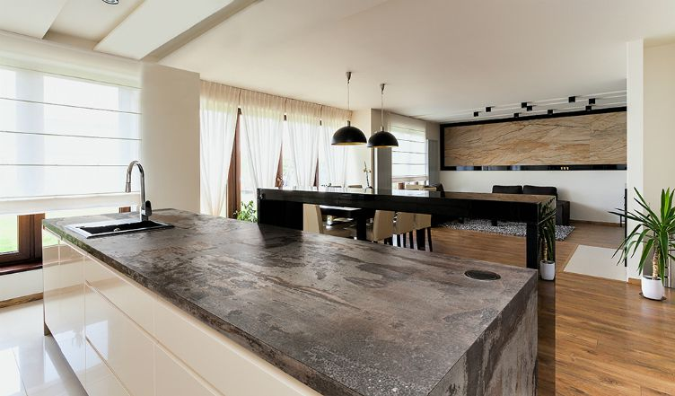What is Dekton? A shot of an industrial farmhouse kitchen with Dekton counters