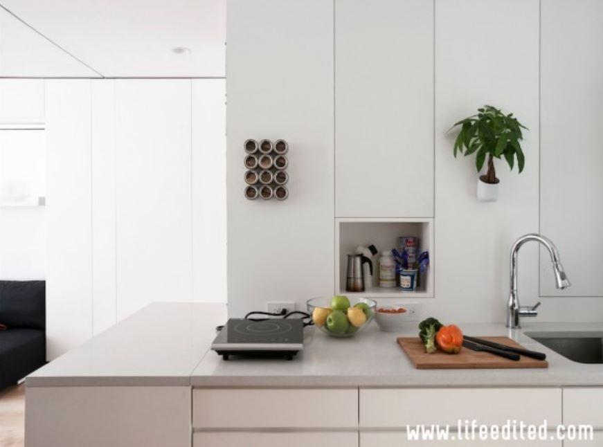 An all-white kitchen with Dekton countertops