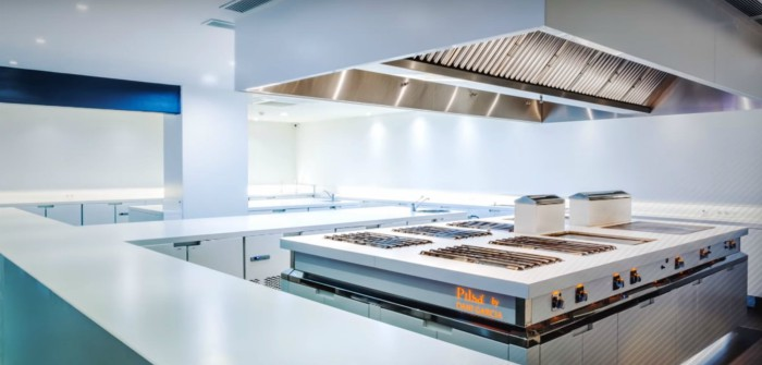 An professional kitchen with multiple burners and a large hood.