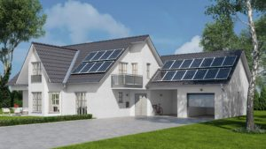 A white home with solar panels on it.