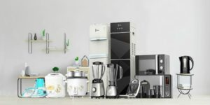 Modern kitchen gadgets on a countertop.