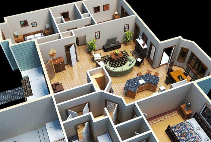 A 3D residential floor plan.