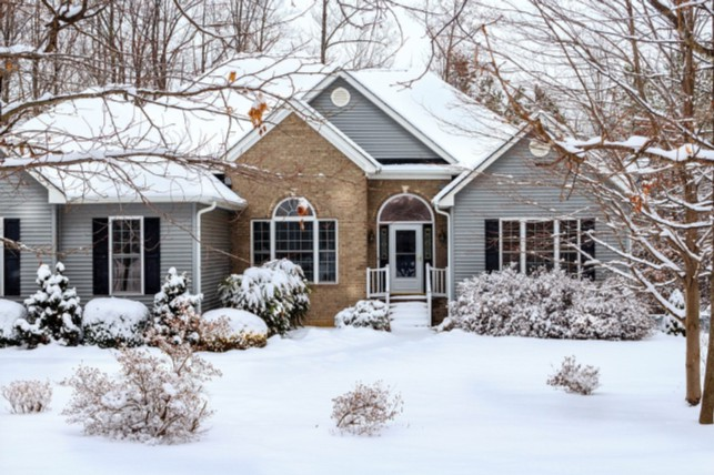 A home covered in snow.