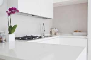 A modern u-shaped kitchen counter with an orchid.