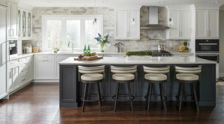 modern kitchen interior with white stone countertop and black support base