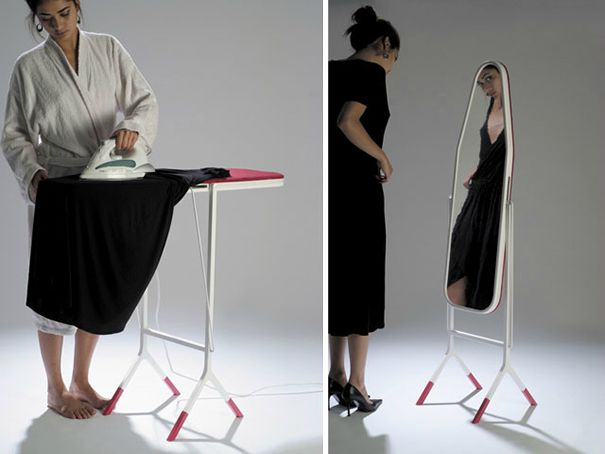 woman ironing a black dress in one picture and then wearing it while looking in a mirror while wearing black heels in the picture on the right