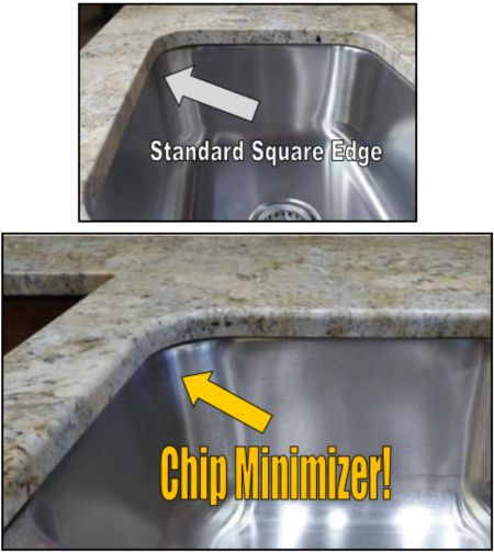 diagram of two kitchen sinks with light overhand from stone countertop