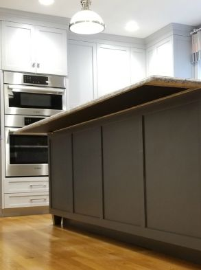 underside view of stone countertop with heating pad attached