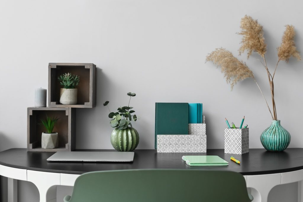 A luxury office with organizational accessories.