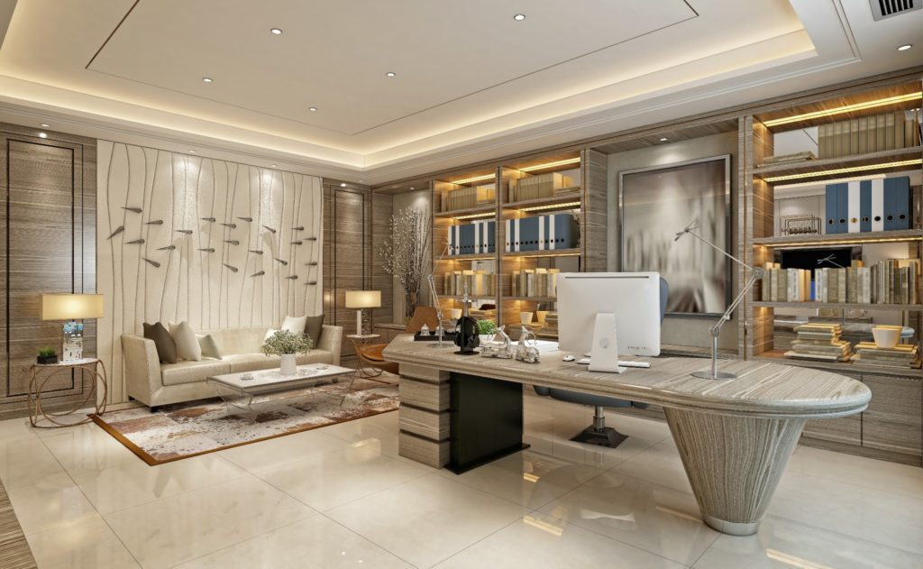 A luxury office featuring a unique stone desk.