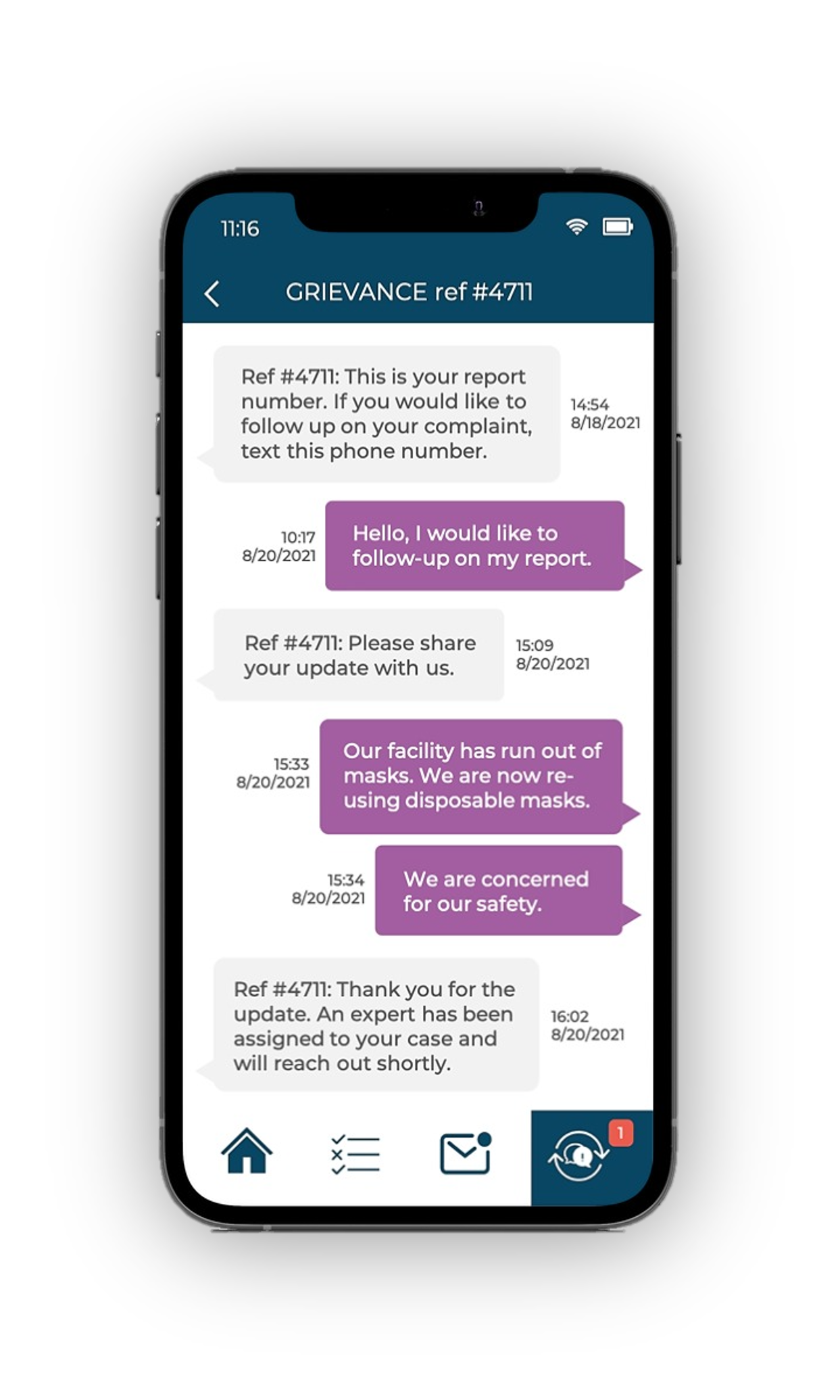 Smartphone screen showing two-way chat exchange relating to a grievance submitted via the Ulula OWL app