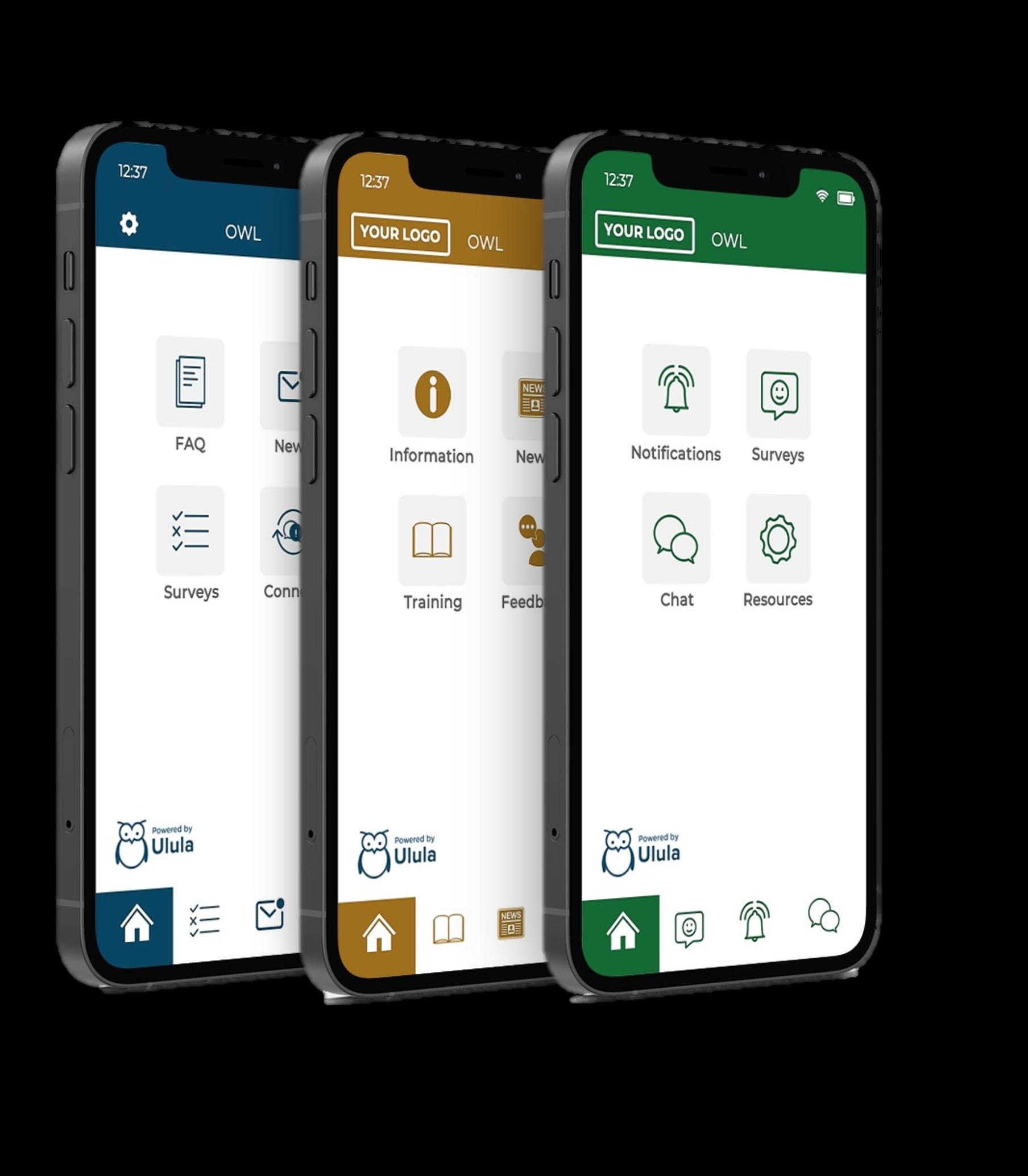 Ulula's OWL app depicted in different branding