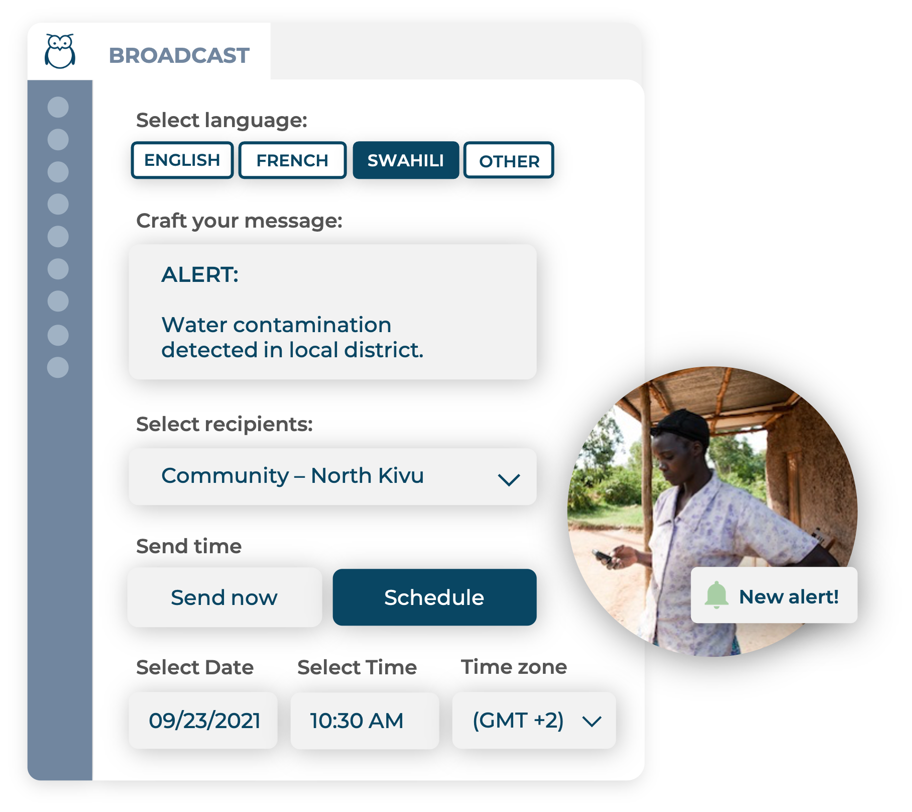 Ulula Broadcast platform screen to craft and schedule messages