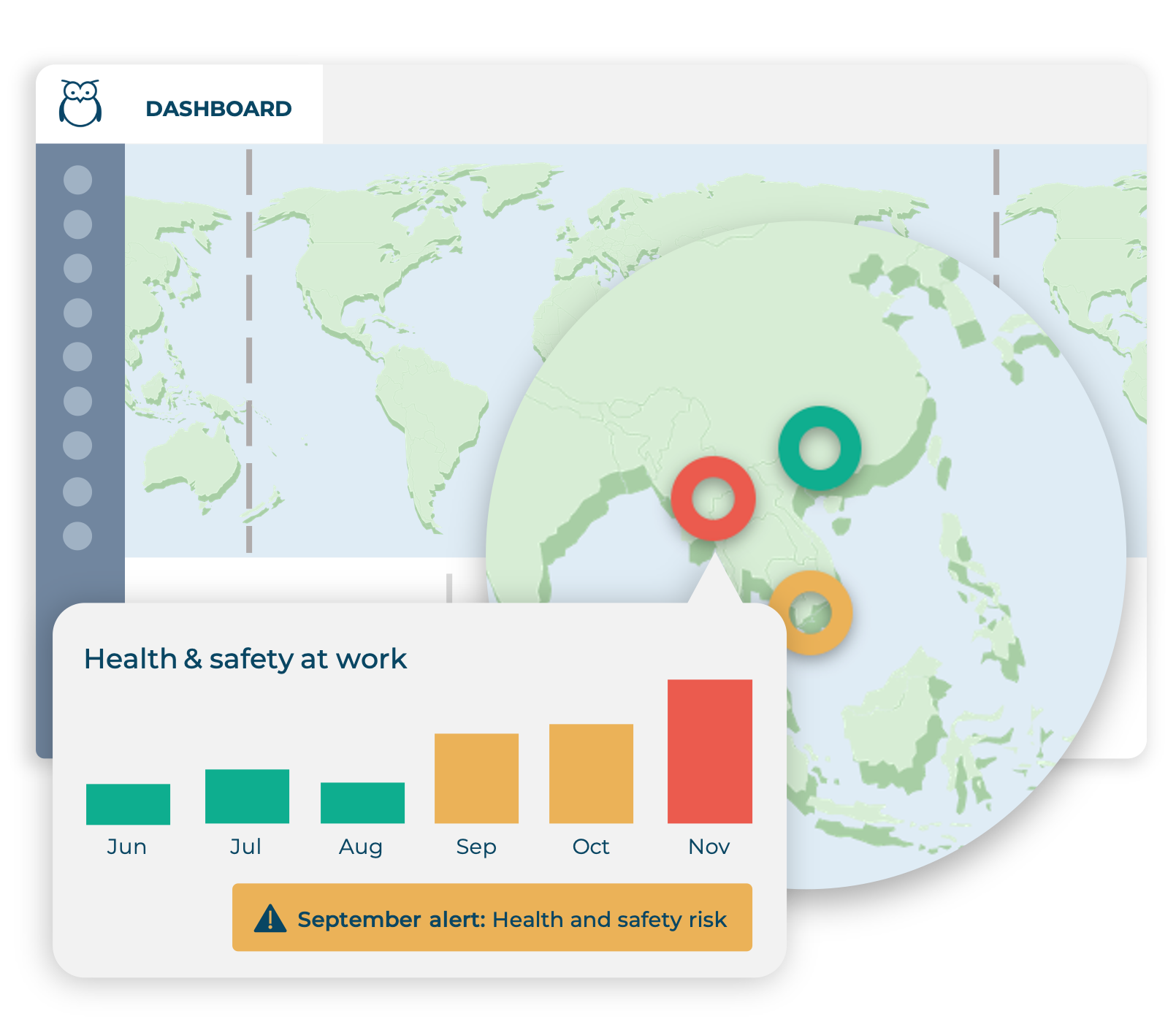 Ulula dashboard map view with color-coded donuts increased risk in the 'health and safety' category over time
