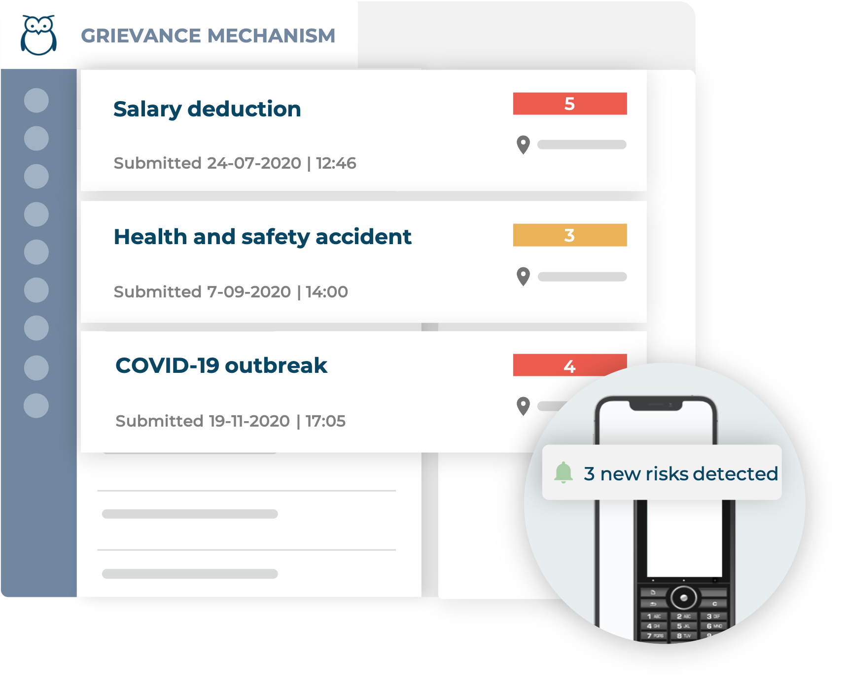 Ulula's grievance mechanism displaying a list of submitted grievances of varying risk levels and mobile phones showing a notification