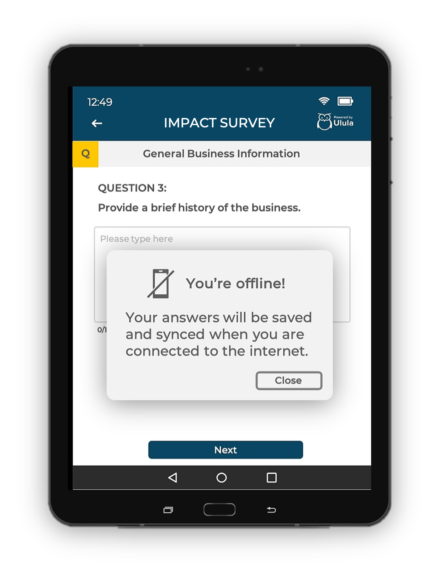 Android tablet showing a survey question from Ulula's Owlyfield app with a pop-up message notifying that the user is offline