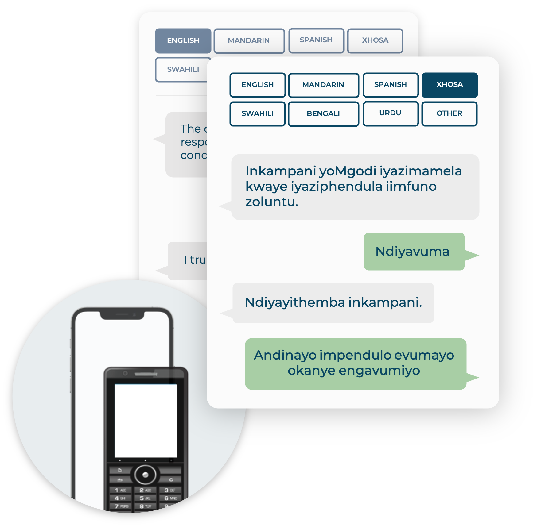 Mobile phones showing an SMS survey exchange in Xhosa (foreground) and English (background)