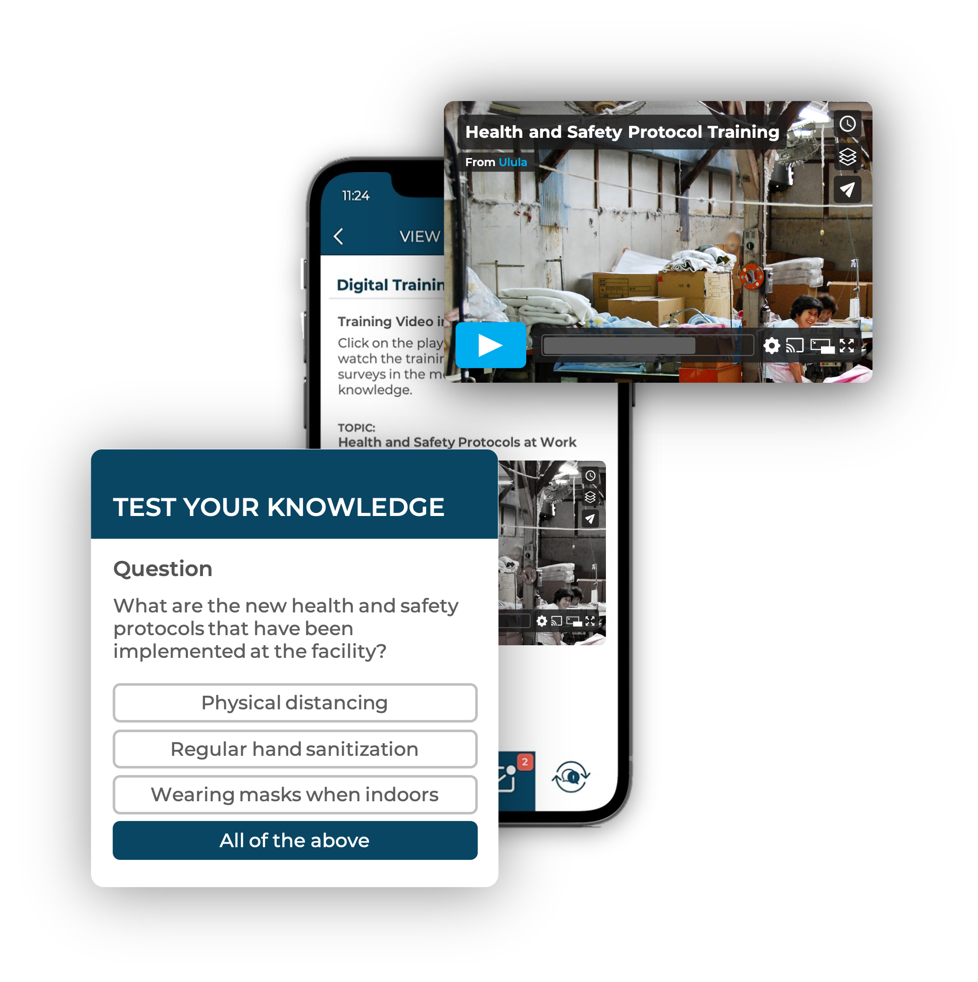 Smartphone showing training video screenshot and a sample survey question on Ulula's OWL app