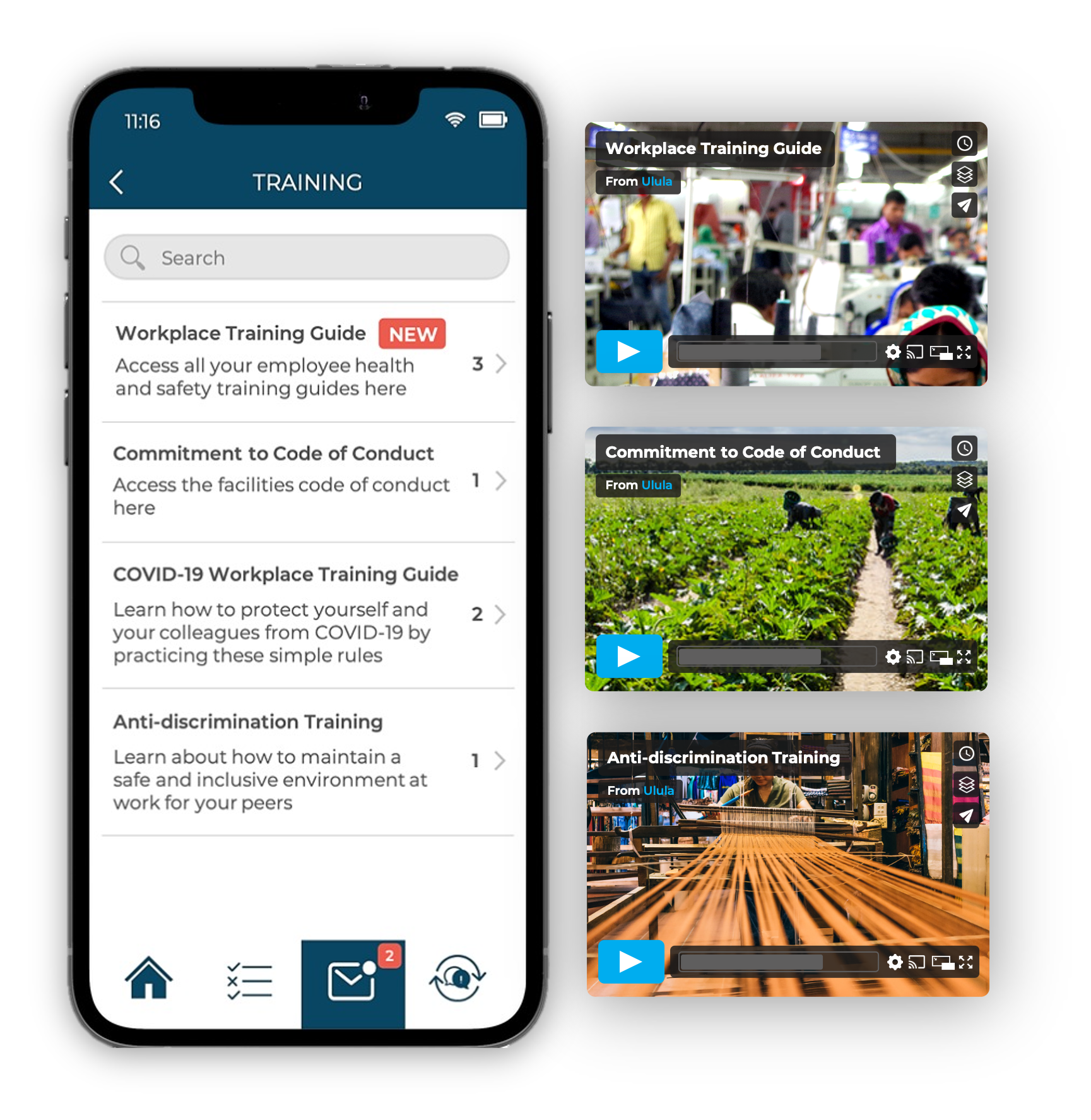 Smartphone showing list of training modules on Ulula's OWL app and screenshots of training videos