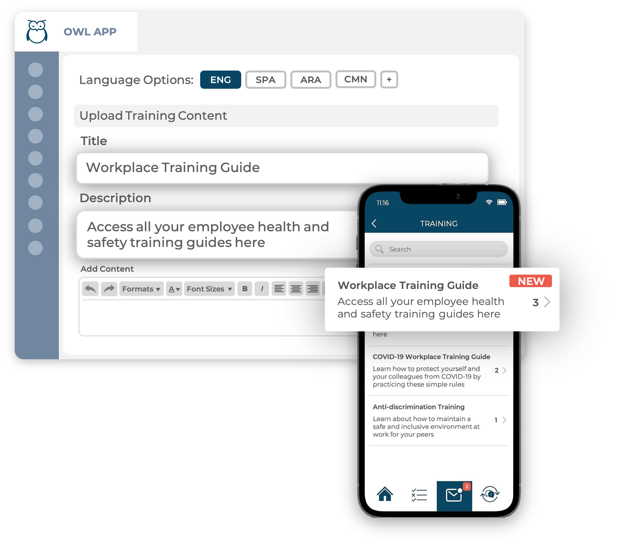 Ulula platform backend training content input screen (background) and smartphone showing training modules on the Ulula OWL app (foreground)