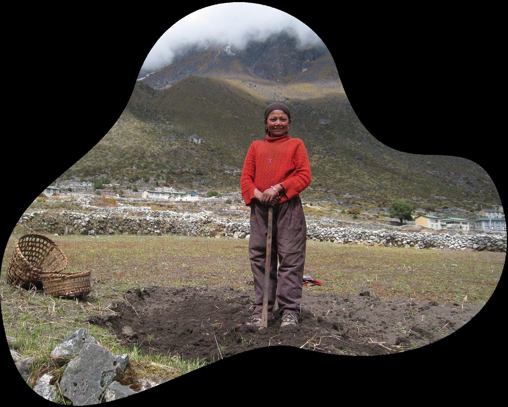 Woman standing in mine field