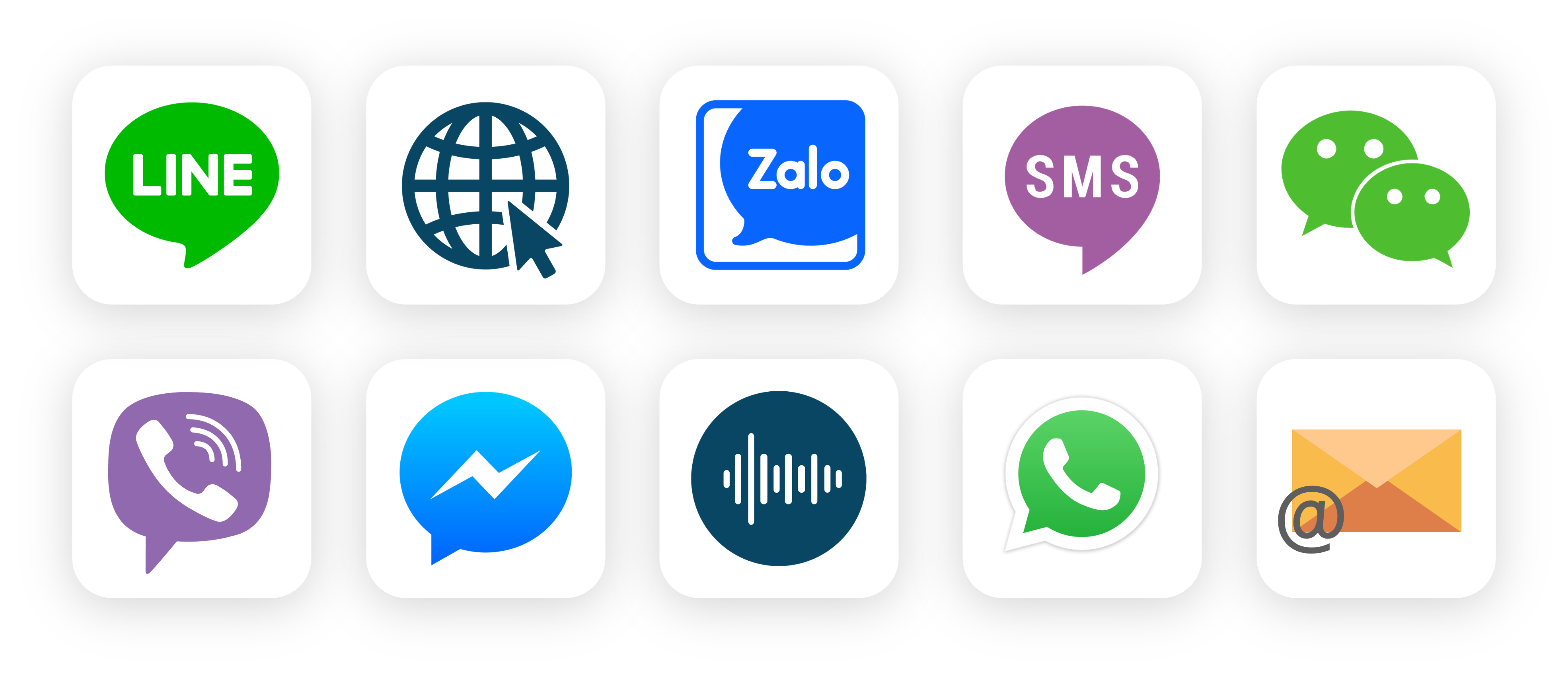 Communication channel icons