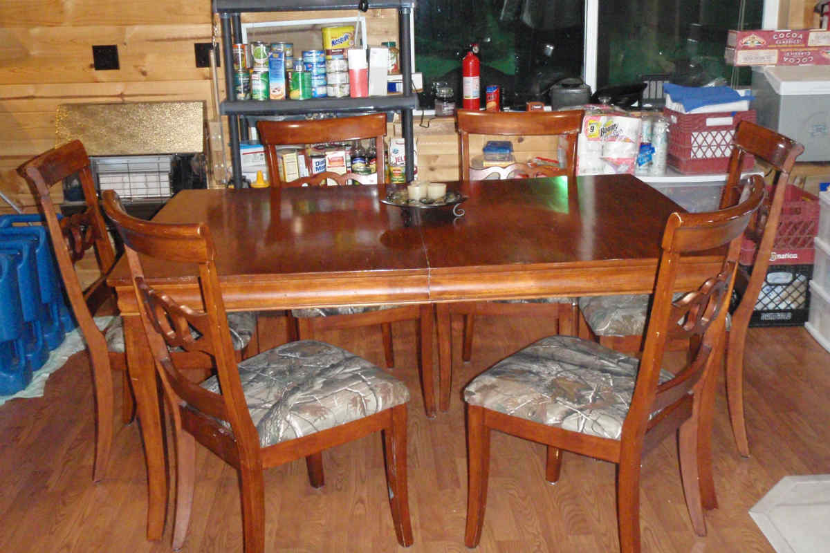 A wooden dining table, different angle