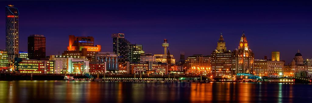 Liverpool skyline at night