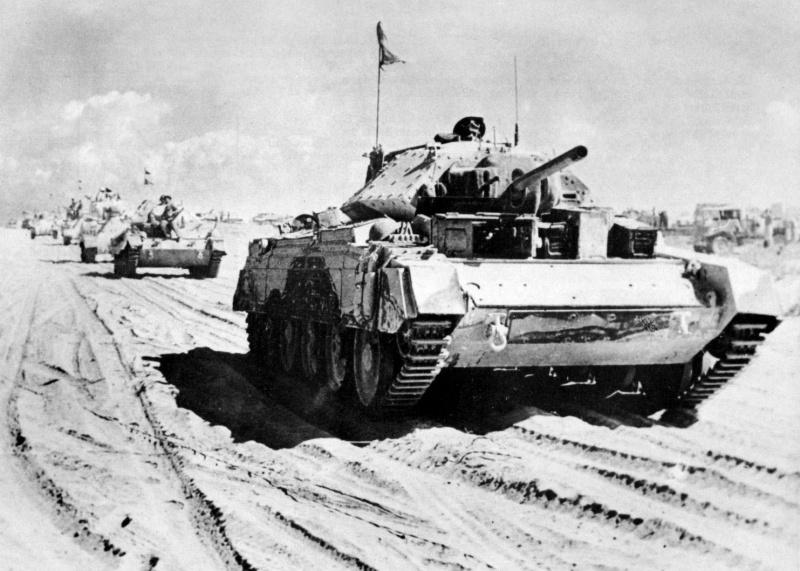 British tanks advance in N. Africa, 1942