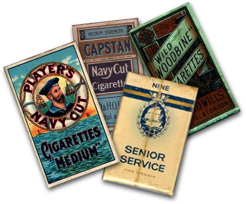 Composite photograph of brabnds of cigarette packets