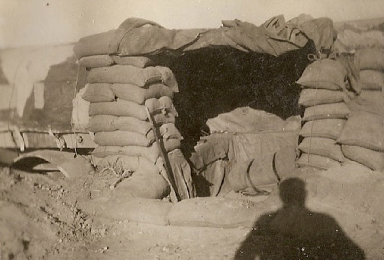 British soldier's desert home made of sandbags, N. Africa 1941