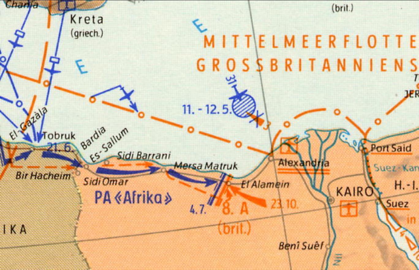 German military map shows battle lines at Mersah Matruh, 1942