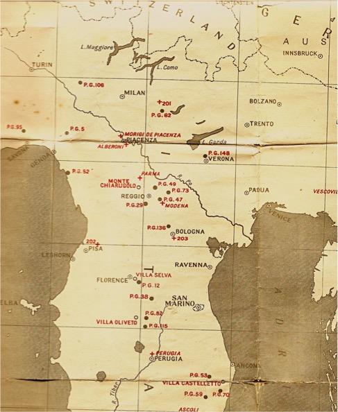 Map of Italian POW camps 1940s WW2
