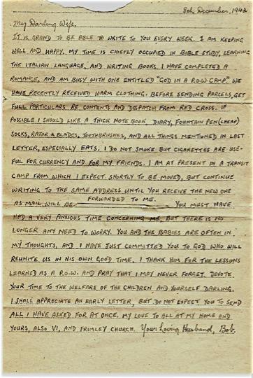 Letter from Robert Otterson war memorabilia