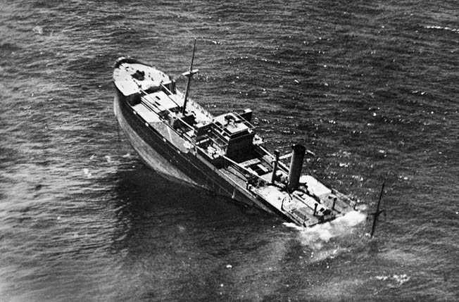 sinking of Italian supply ship off Tripoli 1942