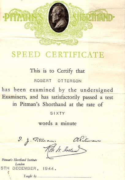 Pitman award certificate