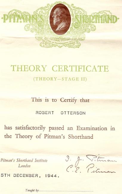 Pitman theory certificate