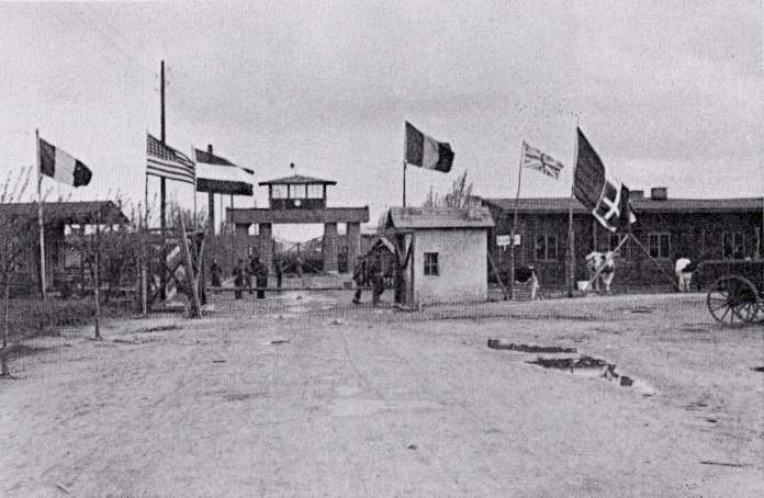 Allied flags fly at liberation of Stalag IVB