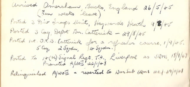 Record of postings of soldier to UK camps