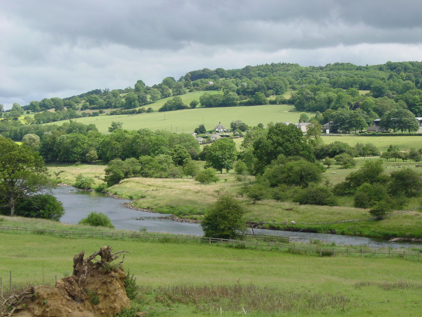 England - Durham - Hadrian's Wall area - Chesters - view across Tyne River to Northumberland countryside